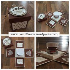 Stampin 'up Verpackung für Nutella in Form einer Explosionsbox