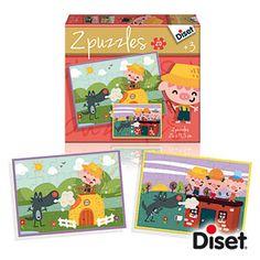 3 AÑOS_ PUZLE LOS TRES CERDITOS 2 puzles de 20 piezas, del cuento clásico de la  Los Tres Cerditos.  Ilustraciones representando las escenas principales del cuento, con los personajes conocidos por los más pequeños.