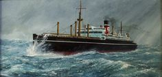 Blue Star's TSS Sultan Star by Wallace W.Trickett.  When built by Camell Laird in '30 she was considered to be the fastest merchant ship in the world when built, she carried the first direct direct cargo for Blue Star Line from New Zealand to the UK. 14/2/1940 by the German submarine U-48, West of Lands End, in a position 45.54N, 10.03W. She was on a voyage from Buenos Aires to Liverpool with refrigerated meat and general cargo. One of her crew of 47 was killed.