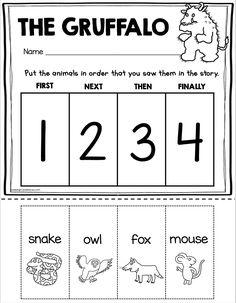 Kindergarten Freebies, Kindergarten Lesson Plans, Kindergarten First Day, Kindergarten Classroom, Classroom Ideas, Gruffalo Activities, Book Activities, Teaching Rules, Sequencing Worksheets