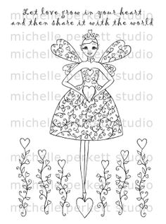 Digital Stamp Love Fairy Hearts Stamping Cardmaking Scrapbooking Flowers Wings Valentines