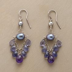 """EVENTIDE EARRINGS--The dreamy blues of evening and the drama of midnight are captured in these freshwater pearl iolite and amethyst chandelier earrings, made byThoi Vo. Oxidized sterling chain and sterling silver wires. USA. Exclusive. 2""""L."""