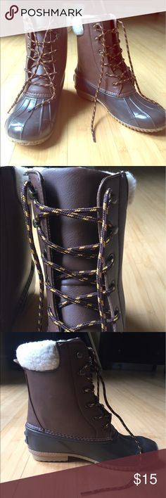 Fir lined boots Brand new boots great for wet winter or fall weather! JustFab Shoes Lace Up Boots