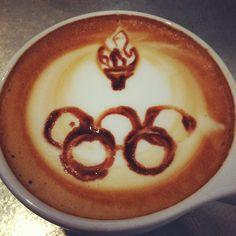 #olympictorch latte. #olympics #rings #latte #pour #webstagram #like - @portolacoffeelab- #webstagram