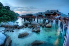 Stilt Huts on Turquoise Water, Pangkor, Perak, Malysia - photo by Tim Steltzer