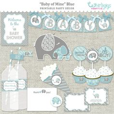 ♥ An elephant baby shower of soft baby blue & grey pastels with a loving mommy and baby elephant theme. An extensive 36 page collection of Fiesta Baby Shower, Baby Shower Games, Baby Shower Parties, Baby Boy Shower, Elephant Theme, Elephant Baby Showers, Baby Elephant, Elephant Party, The Babys
