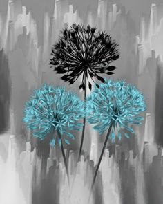 Blue Gray Modern Floal Artwork Home Decor Wall Art Matted Picture  Status: Available!  ...