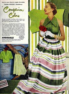 Avondale Fabrics fashion ad, January 1951. #vintage #1950s #fashion