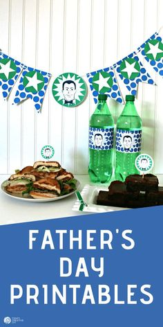 Download these or create your own Father's Day Printables | Party banner, food picks or bottle wrappers all designed for Father's Day. See more on TodaysCreativeLife.com Fathers Day Banner, Fathers Day Crafts, Gifts For Father, Gifts For Kids, Diy Father's Day Gifts, Father's Day Diy, Food Picks, Gift Tags Printable, Crafty Craft