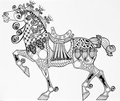 The King's Horse - Zentangle - Jani Freimann