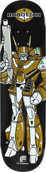 Finesse Robotech Veritech Deck-8.0 Blk/Gold Monroe Teen, 80 Tv Shows, Robotech Macross, Manga Characters, Fictional Characters, 80s Tv, Skate Art, Great Love Stories, Skateboard Art