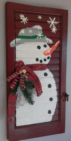 Rustic SNOWMAN Shabby Chic Shutter Holiday by ThreeTwigsDesigns
