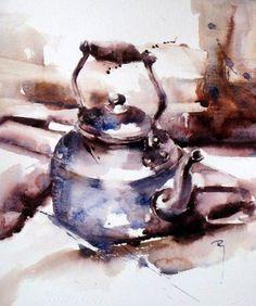 """French watercolor artist Catherine Rey """"La p'tite dernière!"""""""
