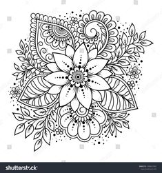 mandala Mehndi flower pattern for Henna drawing and tattoo. Decoration in ethnic oriental, Indian style. Henna Tatoo, Henna Doodle, Henna Art, Tattoo Ink, Sleeve Tattoos, Henna Drawings, Outline Drawings, Henna Designs Drawing, Tattoo Outline Drawing