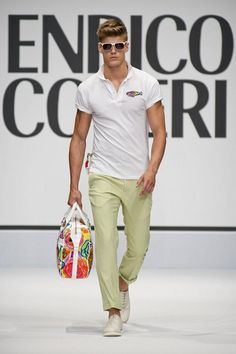 Enrico Coveri S/S 2013, casual men's style, white poll with pastel trousers, perfect for summer