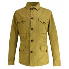 Urban military inspired cotton canvas safari jacket from Aigle.  A timeless, transgenerational, practical and comfortable jacket.  Made from 100% cotton and features a front snap closure with hidden zipper.