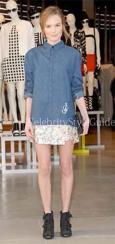 Seen on Celebrity Style Guide: Kate Bosworth wore the two-toned J.W. Anderson for Topshop Two Tone Denim Shirt to attend Topshop Topman LA Grand Opening at The Grove on February 14, 2013 in Los Angeles, California.