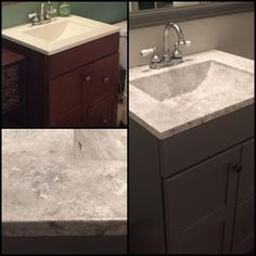 Faux granite countertops! Used a sea sponge, toothbrush and old paint brush to fake it with 3 shades of grey I created. Sealed the counter with a water-based polyurethane to prevent yellowing.