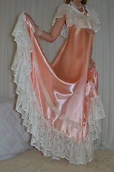 VTG Lingerie Nylon Lace Bra Area Satin Slip Negligee LONG Sweep Nightgown Sz 4X in Clothing, Shoes & Accessories, Vintage, Women's Vintage Clothing | eBay