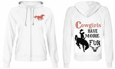 "COWGIRL ATTITUDE SWEATSHIRT ""Cowgirls Have More Fun"" Coral & Black Script & Horse Images on White Western Hoodie by COWGIRLS UNTAMED $68.50 plus shipping at www.cowgirlsuntamed.com"
