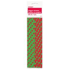 BOUGHT | BAR | $1.30 10 pcs Your Christmas party guests will love sipping drinks with our Red and Green Polka Dots Paper Straws. Dress up your holiday drinks with this package of 10 Holiday Paper Straws.