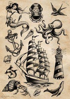 Traditional Nautical Tattoo, Traditional Sailor Tattoos, Traditional Tattoo Drawings, Traditional Black Tattoo, Traditional Tattoo Design, Traditional Tattoo Sleeves, Traditional Lighthouse Tattoo, Traditional Flash, Pirate Ship Tattoo Traditional