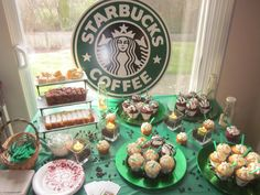 13th Birthday Parties, Birthday Party For Teens, 18th Birthday Party, Birthday Cupcakes, Birthday Ideas, Coffee Themed Party, Starbucks Birthday Party, Party Stations, Party Treats