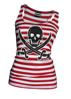Striped Jolly Roger Tank Top  Red/White    Did you know September 19th is Talk Like A Pirate Day?   Available as a women's racerback tank top, t-shirt or mens tee shirt.   Aesop Originals clothing brings you the hottest designs from the streets.   We love Tattoos, Skateboarding, and any extreme sport or rockin' beat.  http://www.aesoporiginals.com/product/striped-jolly-roger-tank-top-red-white