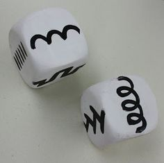 Art Dice with lines- the kids draw the lines that they roll!  Great for handwriting skills. Love this.