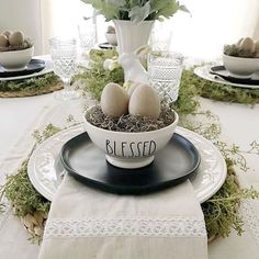 Easter tablescape with Rae Dunn bowls