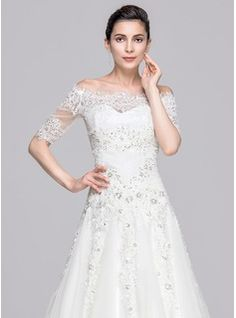 A-Line/Princess Sweetheart Court Train Beading Appliques Lace Sequins Zipper Up Covered Button Strapless Sleeveless Church General Plus Yes Winter Spring Fall Ivory Tulle Wedding Dress