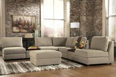 Tosha - Linen Armless Sectional with Accent Ottomans by Signature Design by Ashley