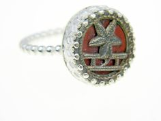 Vintage button ring and sterling silver