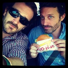 Non-hunters see rob benedict and richard speight jr just hanging out. Hunters see this as a father and son outing.
