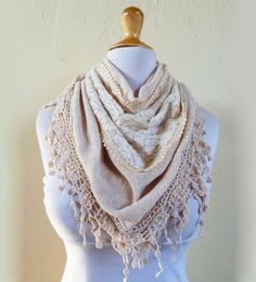 Scarf Verena in BEIGE with rich lace edge  by OriginalDesignsByAR, $22.00