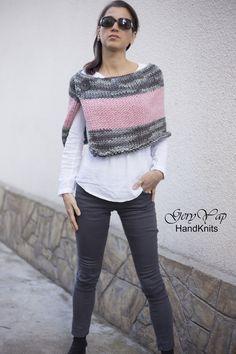 Poncho Pullover, Wool Poncho, Poncho Sweater, Crochet Blouse, Crochet Poncho, Knit Stockings, Stocking Pattern, Vogue Knitting, 60 Fashion