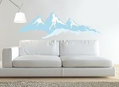 Wall Stickers Murals, Wall Decal Sticker, Easy Wall, Living Room Bedroom, Wall Colors, Love Seat, Wall Art, Mountains, Interior Design