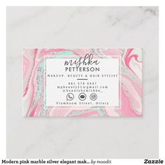 Customizable Business Card made by Zazzle Invitations. Elegant Makeup, Create Your Own Business, Pink Marble, Zazzle Invitations, Business Cards, Card Making, Modern, Artist, Silver