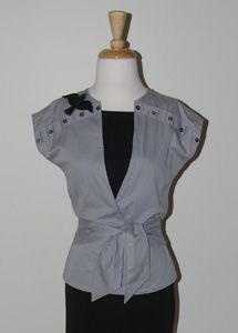 refashioned ladies top from a men's button up shirt