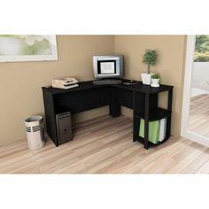 L-Shaped Desk with Side Storage, Multiple Finishes - Walmart.com