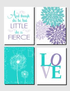 Teal Purple Lavender, Kids Wall Art, Brooklyn Nursery, Girls Room, And though she be but little, Dandelions, Set of 4, Prints or Canvas by vtdesigns on Etsy