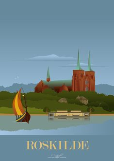 Roskilde Travel Illustration, Graphic Illustration, Naive, All Over The World, Around The Worlds, Copenhagen Denmark, Travel Posters, Travel Guides, Uganda