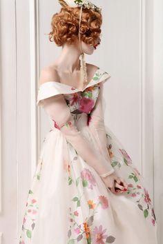 Silk Floral Printed Long Sheer Sleeve Low V Back di MyFairLady1950, $659.00