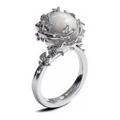 Ivory Pearl Ring Kasun ❤ liked on Polyvore featuring jewelry, rings, pearl jewellery, ivory jewelry, white pearl ring, wolf jewelry and ivory ring