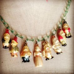 """Rare Disney Snow White """"puffy"""" celluloid charm necklace"""