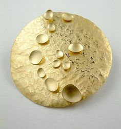 Kate Bajic - Scatter Brooch 18ct Yellow Gold hammered brooch with free moving discs & integral pin #jewelrymaking