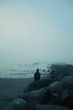 I love the feeling of solace and solitude that this image presents. I want to be there, that person - lost in the mist. Charles Bukowski, Natur Wallpaper, The Scorpio Races, Grafik Art, Mists, Seaside, Scenery, Storyboard, In This Moment