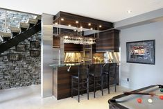 Lake front Basement Bar - contemporary - Basement - Ottawa - Luxurious Living Studio Inc.
