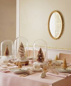 Celebrate Christmas & Chanukah. A pretty pale pink and gold holiday tablescape.