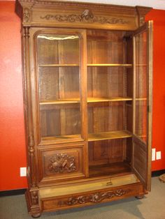 Hand Carved French Antique Bookcase